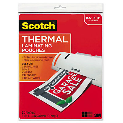 Scotch Letter Size Thermal Laminating Pouches 3 Mil 11 12 X 9 20pack Tp385420