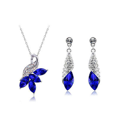 925 Silver Filled Jewelry Set Crystal Necklace Earring Ring Women Wedding Bridal Necklace Earring Ring