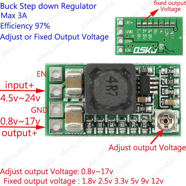 2A DC-DC Buck Step-down Adjustable Converter Module 5-24V to 1.8V 3.3V 5V 9V 12V