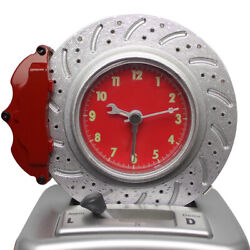 Spinning Brake Disc Alarm Clock with Gearshift Control Button Best for Gifts