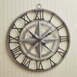 Compass Iron & Glass Wall Clock By Park Designs.