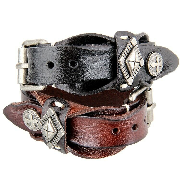 Adjustable Mens Womens Punk Belt Buckle Bracelet PU Leather Wristband Bangle US Bracelets