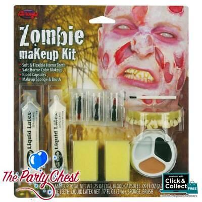 Zombie Halloween Makeup Men (ZOMBIE MAN MAKEUP HALLOWEEN FACE PAINT KIT Teeth Blood Latex Fancy Dress)