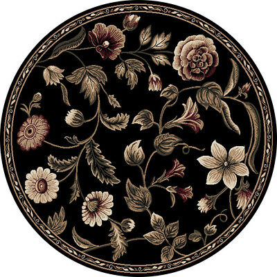 Black Transitional Rug - Transitional Floral Black 8x8 Round Area Rug Leaf Vine - Actual 7' 10