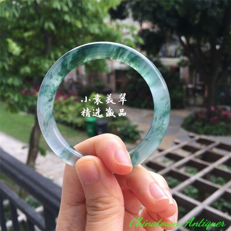 Burma Certified Grade A Ice Floating Flowers Green Jadeite Bracelet Bangle #2549