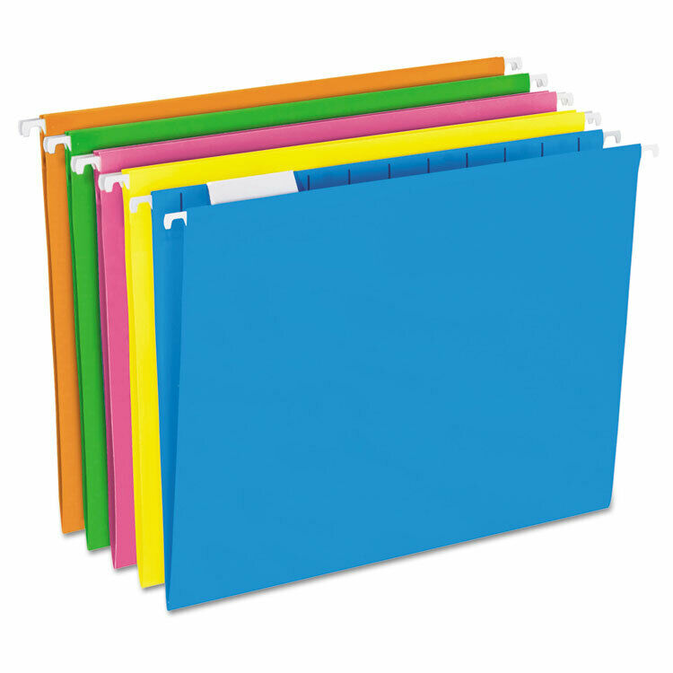 Pendaflex Glow Hanging File Folders 1/5 Tab Letter Glow Assorted 25/Box 81672