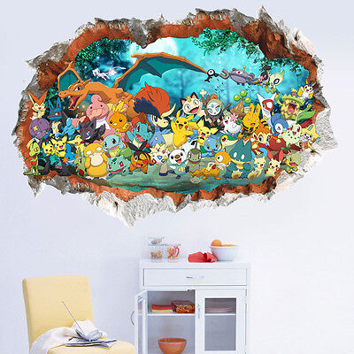 Giant Pokemon Wall Sticker Nursery, child, Boy, Bedroom, Pokemon Go, Pikachu