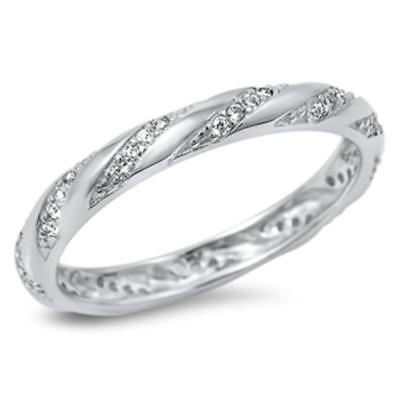 Cubic Zirconia Eternity Design Band .925 Sterling Silver Ring Size 6-10