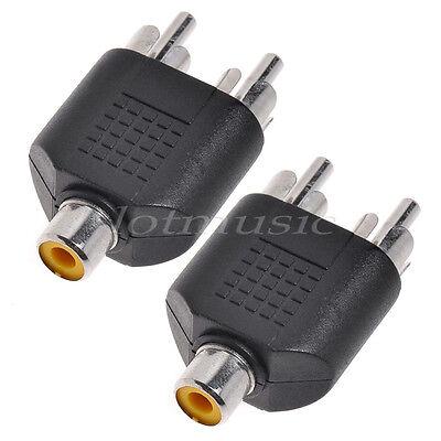 2 Pcs Digital RCA Phono 2 Male to 1 Femal Audio Y Splitter Plug Adapter Digitale Y-splitter
