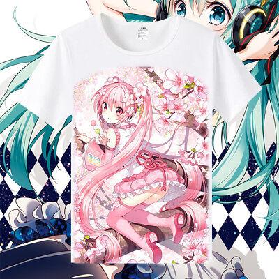 sakura Miku Hatsune Vocaloid Anime Manga Rundhals T-Shirt shirt Kostüm - Sakura Miku Kostüm