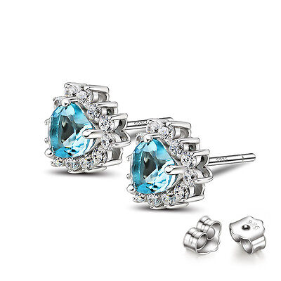 925 STERLING SILVER Blue AND WHITE CZ STONE HEART SHAPE LOVE STUD EARRINGS E812B