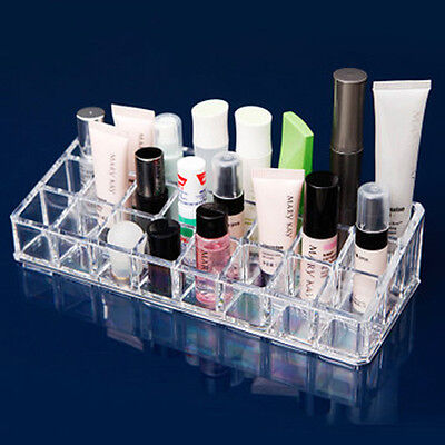 Clear Acrylic 24 Lipstick Tray Cosmetic Organizer Stand Display Holder Excellent (Acrylic Trays)