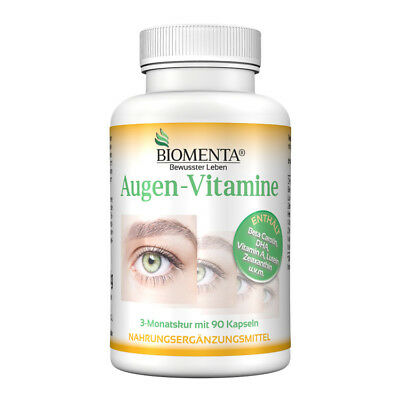 BIOMENTA AUGEN VITAMINE | Beta Carotin, Lutein Zeaxanthin, Omega 3 | 3 Monatskur - Zeaxanthin Auge