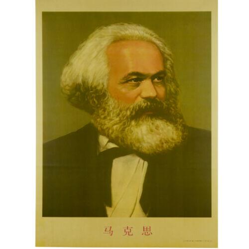Socialism Communism Leader Karl Marx Vintage Portrait Old Wall Poster W/ Tube