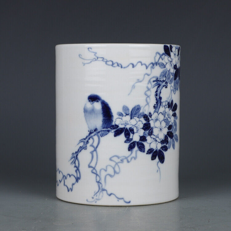 "5.8"" Antique Old Chinese Porcelain dynasty Blue white flower bird Brush Pot"