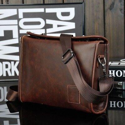Men's Briefcase Casual Business Shoulder Bag Leather Messenger Satchel Bag