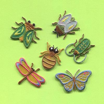 ASSORTED SMALL BUGS EMBROIDERED IRON ON APPLIQUE (EAP-115) SET OF 6
