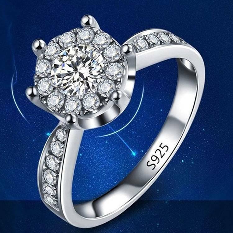 925 Sterling Silber Modeschmuck Schöne Zirkon Herz Frauen Ring 6 7 8 yks