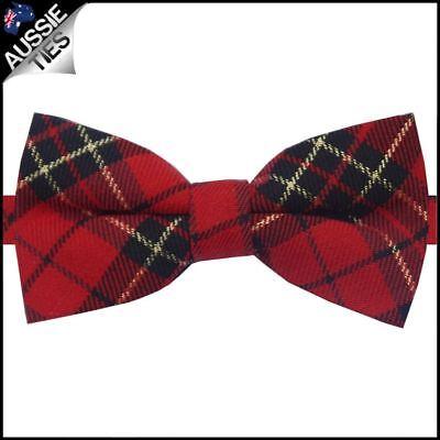 Red Black & Gold Tartan Bow Tie Men's bowtie Black Tie Bow Tie