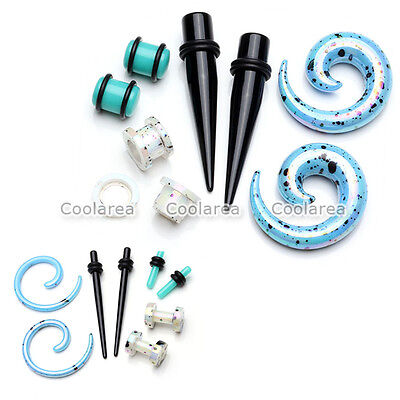 4 Pair Acrylic Taper Plug Spiral Screwed Stretcher Ear Tunnel Ear Gauge Expander