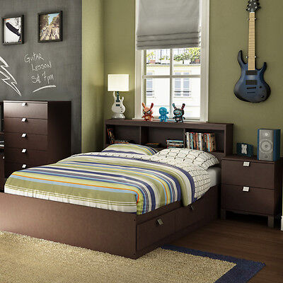 4 Piece Brown Full Size Platform Four Storage Drawers Bed Set Bookcase - Double Bookcase Headboard Beds