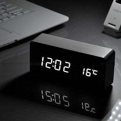 LED Display Temperature Digital Wood Wooden Snooze Alarm Clock Sound Control