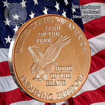 Enduring Freedom 1 oz .999 Copper Round Part of the Enduring Freedom Series