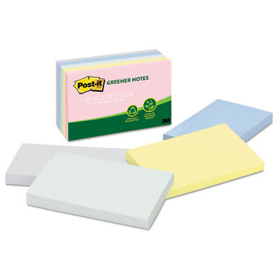 Post-it Recycled Note Pads 3 X 5 Assorted Helsinki Colors 100-sheet 5pack