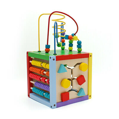 Wooden Early Learning Bead Maze Cube Activity Educational Developmental Baby Toy