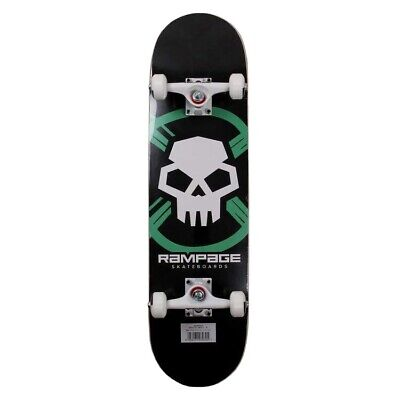 """Rampage Critical Skull 8"""" Complete Skateboard - Black - Free Delivery"""
