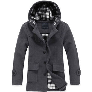 MENS winter warm hooded wool hoody long jacket coat Outerwear overcoat trench