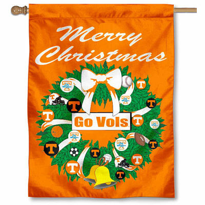 Wreath Decorative Flag - Tennessee Vols Merry Christmas Wreath Decorative Holiday Wreath House Flag