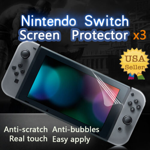 3X Clear Screen Protector Guard Shield Armor Saver Film For Nintendo Switch