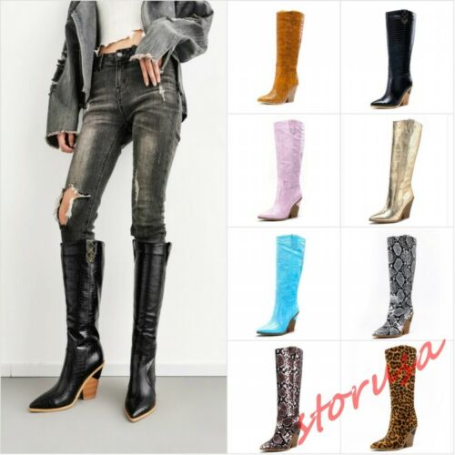 01 Knee High Boots Black Womens Stiletto High Heels Pointy Toe Shoes Knight Warm
