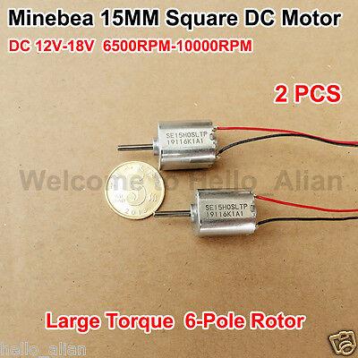 2pcs Dc 12v 6500rpm Large Torque 6-pole Rotor Minebea Micro 15mm Square Dc Motor