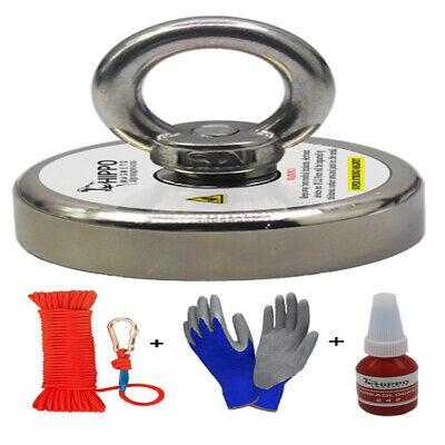 Fishing Magnet Kit Upto 2000 Lbs Pull Force Rope Carabiner Threadlocker Glove