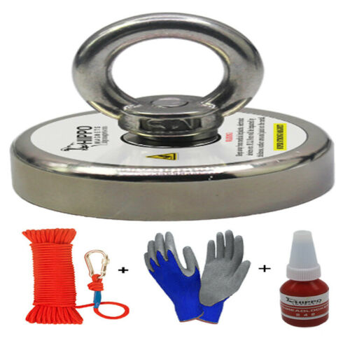 Fishing Magnet Kit Upto 2000 Lbs Pull Force Rope, Carabiner, Threadlocker, Glove