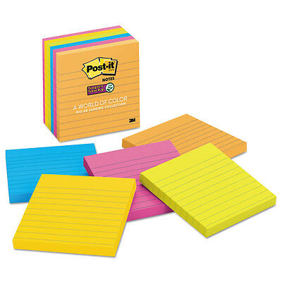 Post-it Pads in Rio de Janeiro Colors Lined 4 x 4 90-Sheet 6/Pack