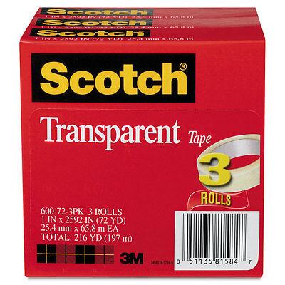 Scotch Transparent Tape 600 72 3pk 1 X 2592 3 Core Transparent 3pack