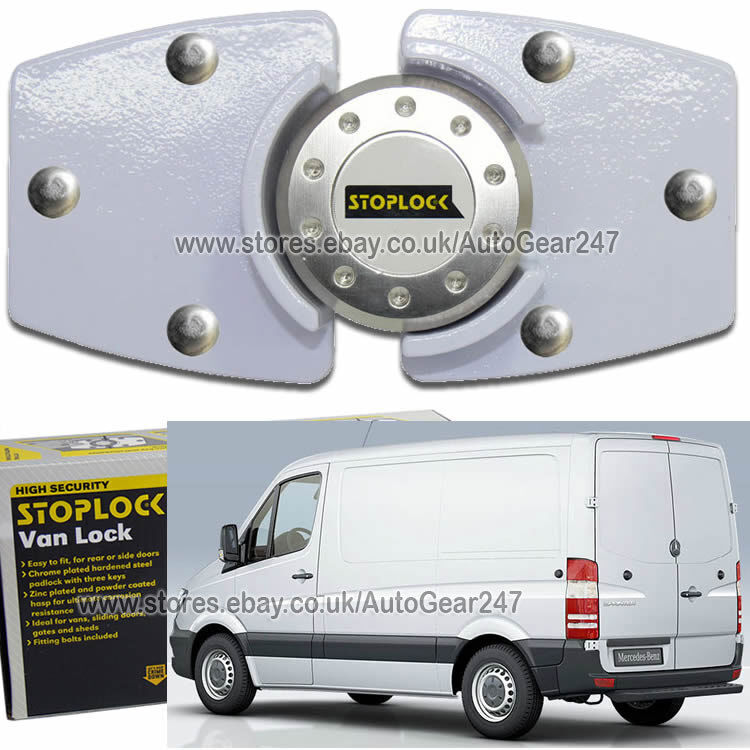 White Stoplock Mercedes Sprinter High Security Anti Theft Van Door Lock