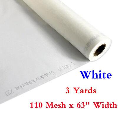 63 X 3 Yards 110 Mesh - White Silk Screen Silkscreen Printing Fabric