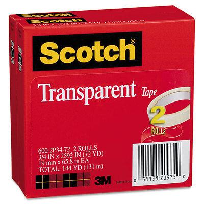 Scotch Transparent Tape 600 2p34 72 34 X 2592 3 Core Transparent 2pack