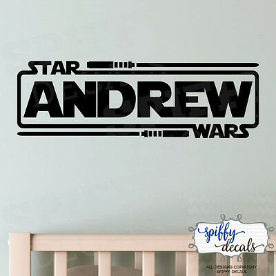 Personalized Star Wars Name With Lightsabers Jedi Knight Vinyl Wall Decal Decor  - Star Wars Decoration