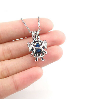 K1225 Girl Kids Beads Cage Perfume Diffuser Charm Locket Necklace 18