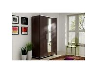 NEW 3 DOOR WARDROBE WITH MIRROR SHELVES AND RAIL IN BROWN AND WHITE COLOR