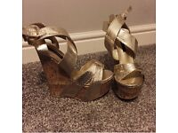 River island gold and wood wedges size 4/euro 37
