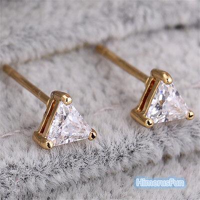 18k Brilliant Cut Stud - Fashion 18K Gold Plated Stud Earrings Triangl Brilliant Cut CZ Jewelry For Women