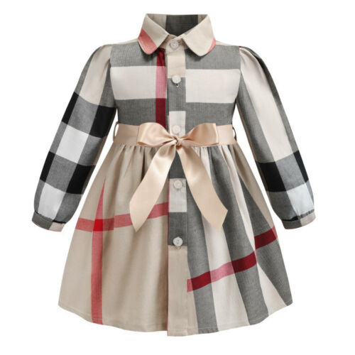 Kids Girls Baby Dress Short Sleeve Plaid Cotton Lattice Bow Tutu Shirt Dresses