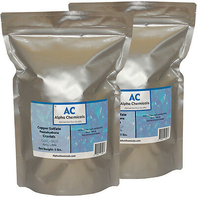 10 Pounds - Copper Sulfate Pentahydrate Crystals - 99 Pure