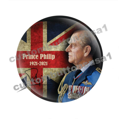 PRINCE PHILIP BUTTON - Duke of Edinburgh - England - Royal Family pinback Queen